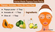 Papaya, Avocado, Olive Oil Face Pack - Dark spots and pigmentation can be diminished using the best ingredients like avocado oil and olive oil. Papaya Face Pack, Papaya Facial, Olive Oil For Face, Rose Water Face, Remedies For Glowing Skin, Beauty Essence, Home Health Remedies, Diy Skin Care, Avocado Oil
