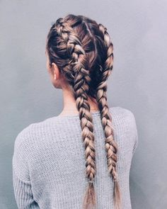 Separate your hair into two parts; then create two dutch braids right to the bot. Hairstyles, Separate your hair into two parts; then create two dutch braids right to the bottom. It's a great hairstyle and a major plus is you don't have to . Braided Hairstyles, Cool Hairstyles, Hairstyle Ideas, Perfect Hairstyle, Modern Hairstyles, Classic Hairstyles, French Hairstyles, Hairstyles 2018, Braided Updo