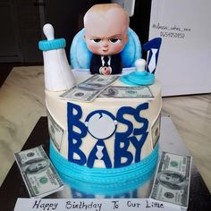 Repeat design for the boss baby Baby Boy 1st Birthday Party, Boss Birthday, Baby Birthday Cakes, Birthday Themes For Boys, Baby Boy Cakes, Baby Party, Boss Baby, Ideas, Baby First Birthday
