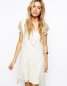 ASOS Crochet Dress with Flared Hem