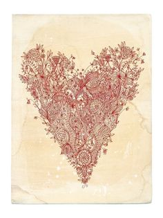 Oh my goodness.  This might be one of the most unique and beautiful things I've seen!  I absolutely LOVE this!  What talent :)  Love art print in red A4 and loves makes by lovelysweetwilliam, $40.00