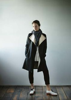 Darling black & old white coat, love the silk lining!