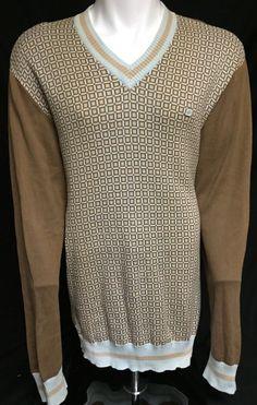 Sean John Blue Brown XXXL V-Neck Sweater 3XL #SeanJohn #VNeck