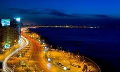 Alexandria Coastline at Night, Egypt Photo by Carl Fung Vacation Destinations, Dream Vacations, Vacation Spots, Places Around The World, Travel Around The World, Around The Worlds, Beautiful World, Beautiful Places, Beautiful Scenery