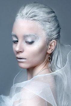 "We have makeup, white, glitter & silver hairspray, and costumes to create this beautiful ""Ice Princess"" look!!"
