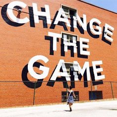 - Change the Game, mural by Stephen Powers. (Typeverything) - Change the Game, mural by Stephen Powers. - Change the Game, mural by Stephen Powers. Environmental Graphics, Environmental Design, Types Of Lettering, Lettering Design, Wall Lettering, Typography Quotes, Typography Letters, Bold Typography, Main 3d