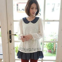 Dotted-Panel Lace Chiffon Blouse from #YesStyle <3 LULUS YesStyle.com