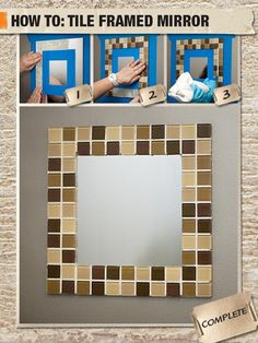 Do-It-Herself Workshop: How to Create a Mirror Frame with Tile Oh. Do-It-Herself Workshop from Home Depot? Mirror Tiles, Diy Mirror, Bathroom Mirrors, Glass Tiles, Tile Projects, Diy Projects To Try, Home Depot Store, Do It Yourself Home, Diy Tutorial