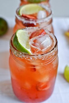 Fresh strawberry margarita recipe. The perfect mixture of juice and deliciousness makes this the ultimate cocktail. #drink #recipe #cocktail