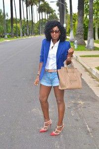 Style Pantry | Puff Sleeve Boyfriend Blazer + Button Up Shirt + Denim Shorts
