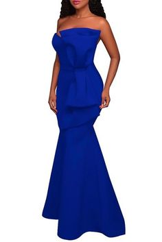 Blue Oversized Bow Applique Strapless Evening Party Gown
