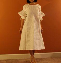 custom smocked spiky sleeves. pure linen dress. made to order listing. $158.00, via Etsy.