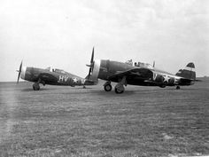 Republic P-47C-2-RE Thunderbolts of the 61st Fighter Squadron, 1942. Note the early USAAF fuselage insignia.