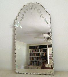 Vintage Etched Beveled Mirror Frameless.