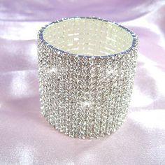 15 Row Stretch Bridal Clear Crystal Rhinestone Bangle Bracelet CB915