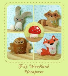 Woodland Animals | Bunny, Fox, Owl, Raccoon, Mushroom | All Natural Wool