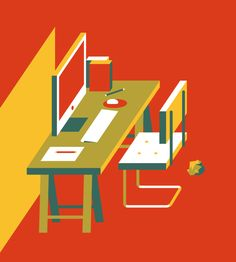 Flat illustration / Flat design / Work Space by Wijtze Valkema #flat #design #illustration