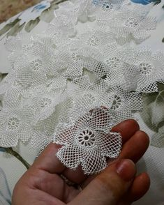 No photo description available. Needle Lace, Needle And Thread, Crochet Motif, Easy Crochet, Creative Embroidery, Baby Knitting Patterns, No Frills, Tatting, Diy And Crafts