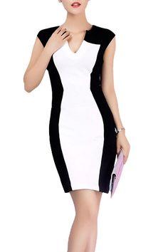 V-neck Cap Sleeves Figure-hugging Color Block Dress