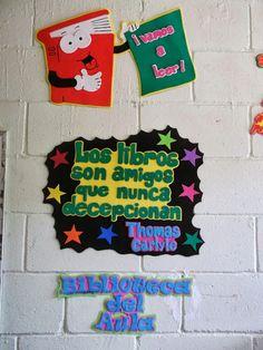 DECORACIONES INFANTILES THE TEACHER: LETRERO PARA LA BIBLIOTECA ESCOLAR LINDO LETRERO C...