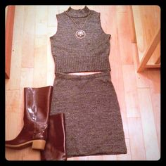 "Black/Grey Tweed Knitted Skirt & Top-Vintage Set Great 2 piece set. Skirt is pencil style with elastic waistband. Measures 24"" without stretching. 20"" Long. Top is sleeveless with mock turtleneck. This is a vintage large so it's more like a small or medium sized person. G.A.S. Other"