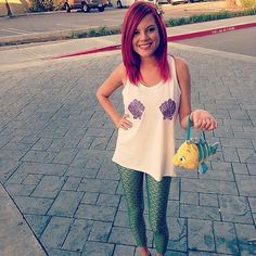 Ariel: paint two shells on a tank. Grab some green leggings, and temporarily dye your hair red — you're all set!