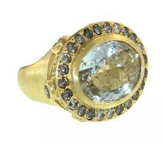 L Frank rutilated quart and diamond King's Ring