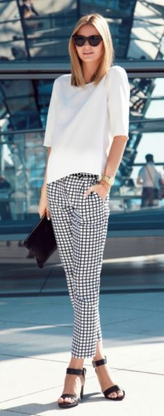 Office Attire for warm summer days: gingham patterned trousers, paired with a silk white top, and open toed heels.