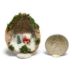 Handmade-Christmas-Scene-in-Walnut-Shell-Diorama-Micro-Fairy-House-N-Fox-OOAK