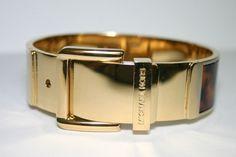 Michael Kors- Bangle Tortoise & Gold BELT Cuff Hinged Bracelet /Pouch