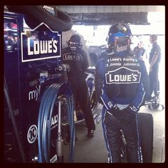 Jimmie waits patiently during practice while the team has the #lowes48 on the scales.