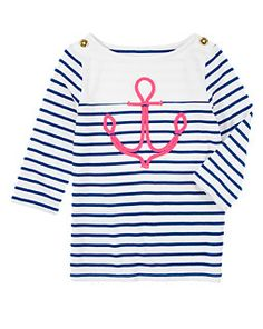 Gymboree 2014 Girls Stripes & Anchor Boatneck Anchor Stripe Tee in Nautical Navy Stripe