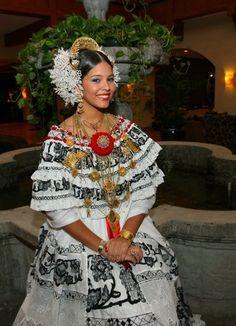 """""""Pollera"""" - Woman wearing Panama's  folkloric dress"""