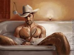 This one is nice and clean for all you dirty gals...there's room enough for two and he's even willing to scrub your back!