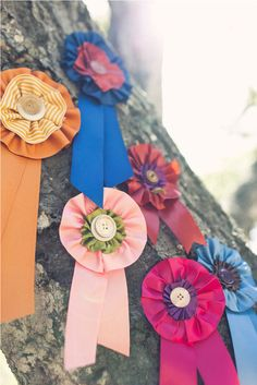 Ribbon medallions would be a great way to add color to a dessert table. Photo by Jackie Wonders via Style Me Pretty
