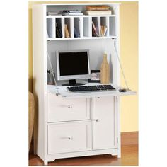 Home Decorators Collection Oxford Tall Secretary Desk in White - 5020700410 - The Home Depot