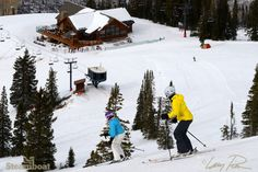 Skiing Storm Peak to Four Points Lodge at Steamboat Ski Area in Steamboat Springs, Colorado.