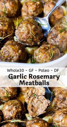 TheseGarlic Rosemary Whole 30 Meatballs are an easy nutritious and versatile dinner recipe. Meatballs make a great healthy main course then just add vegetables on the side. This recipe is Whole 30 Paleo Gluten Free Grain Free Keto Low Carb and Dairy Free. Low Carb Recipes, Whole Food Recipes, Diet Recipes, Paleo Recipes Easy, Whole30 Ground Beef Recipes, Easy Whole 30 Recipes, Healthy Meat Recipes, Paleo Meals, Dairy Free Recipes Ground Beef