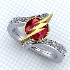 If I was a girl I wouldn't marry a man till he got me this ring-Flash Tag Flash Ring Lightning Bolt Ring by PaulMichaelDesign
