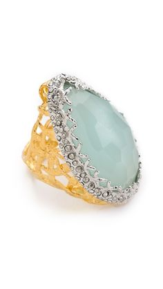 Alexis Bittar Siyabona Woven Ring   chalcedony stone ring, framed in crystals