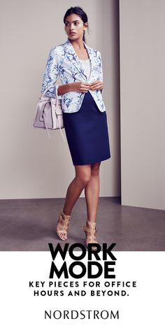 3 key pieces to refresh your work wardrobe for spring: printed blazer, pastel handbag and strappy sandals.