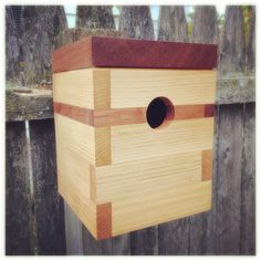 Modern birdhouse in cedar and mahogany by Steve Hadeka at Pleasant Ranch. Made in Vermont.