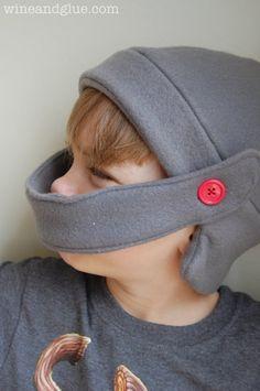 Fleece Knight Helmet Hat with tutorial and free pattern! via www.wineandglue.com