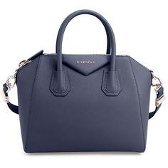 Givenchy Antigona Small Sugar Satchel Bag (€2.035) ❤ liked on Polyvore featuring bags, handbags, handbags satchels, night blue, handbags totes, man tote bag, blue tote handbags, zip top tote and blue tote bag