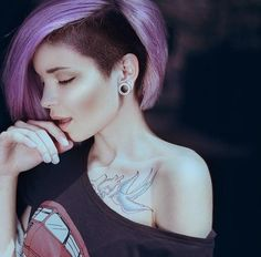 Purple punk bob hairstyle