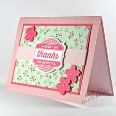Great Big Thanks Handmade Card With Floral Patterns Pinks Reds Greens   cardsbylibe - Cards on ArtFire #ckdin