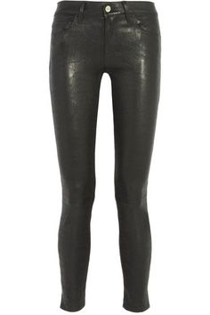 Black stretch-leather  Button and concealed zip fastening at front 100% leather (Lamb); lining: 65% cotton, 32% nylon, 3% spandex Specialist clean