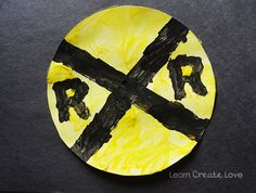 Week Seven- song craft- Railroad crossing train craft painting Trains Preschool, Transportation Theme Preschool, Train Crafts Preschool, Preschool Activities, K Crafts, Daycare Crafts, Toddler Crafts, Trains Birthday Party, Train Party