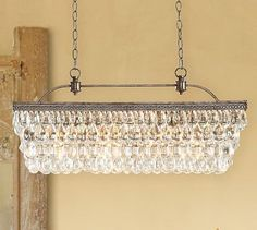 Clarissa Glass Drop Extra-Long Rectangular Chandelier #potterybarn