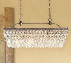 Clarissa Glass Drop Extra-Long Rectangular Chandelier #potterybarn | Dinning Room
